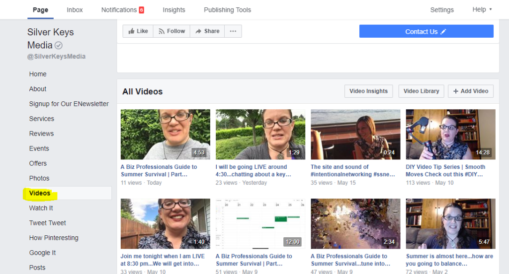 Screen capture of the video tab on a Facebook Business Page