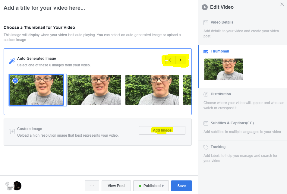 Screen capture showing how to change thumbnail for a Facebook LIVE on a Facebook Business Page