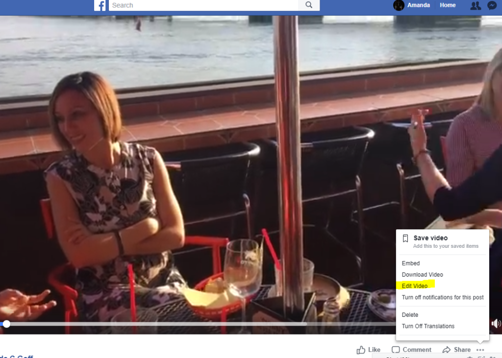 Screen capture showing where to click to edit Facebook LIVE video on a Facebook Personal Profile